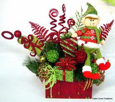 Elf Treasure Chest Centerpiece Floral Arrangement Christmas Holiday Whimsical red lime ADORABLE by Cabin Cove Creations
