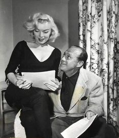 Marilyn and Jack Benny during rehearsal for The Jack Benny Show, September 10, 1953.