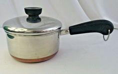 Vtg Revere Ware 1 Quart Stainless Steel Copper Clad Bottom Pot Pre-1968 No City  #ReverWare