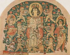 """""""Hestia full of Blessings"""" Byzantine artwork known as the Hestia Tapestry from 6th c. Egypt"""