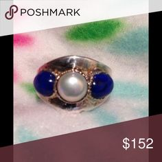 Freshwater pearl fine silver Steven Ruse Ring Fine silver/Sterling silver cigar band style ring. Set with a beautiful white freshwater pearl, flanked on either side by deep blue lapis cabs. Made and signed by Steven Ruse. It really is much prettier in person SIZE: 7 3/4 PRICE: $152 price non negotiable I was originally told it was fine silver when I bought it whole sale. Marked 925 Jewelry Rings