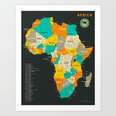 Jazzberry Blue is a master of vector art and geometric compositions, and offer magnificent design illustrations. Here a graphic Africa Map. Art-Poster and prints published by Wall Editions. Illustration Format : 50 x 70 cm Framed Maps, Framed Art Prints, Fine Art Prints, Map Canvas, Canvas Prints, Canvas Size, Art Carte, Maputo, Colorful Wall Art