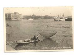 Vykort stockholm norsfiskare på strömmen båtar i bild