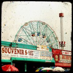 Wonder wheel vintage amusement park ride Coney Island New York City ferris wheel boardwalk by the ocean home decor - 8 x 8 fine art print. $20.00, via Etsy.