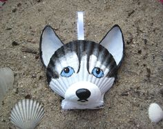 Husky Ornament. Black and white seashell husky ornament. Nautical, beach Cape Cod dog art