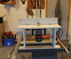 I built this router table to fit my craftsman router, without having to buy any adapter plates. It is very simple, and works like any other router table. The switch on the side allows you to turn the router on and off without having to reach underneath, and also keeps it accessiblein caseof an accident. I used some spare nuts glued into one of the legs to hold on the plate and the original screws (which keeps them from getting lost). Installing the router onto the table takes les...