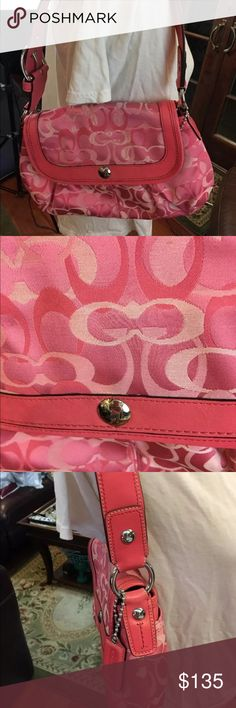 NEW Coach Soho Pleated Optic Signature Flap Bag NEW Coach Soho Pleated Optic Signature Large Flap Bag Punch 14490 Pink Purse  Silver hardware  Large outside back pocket  Snap close  Adjustable shoulder Strap Coach Bags Shoulder Bags