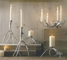 The Roost Polished Antler Candlesticks & Pillar Holders, somewhere in the…