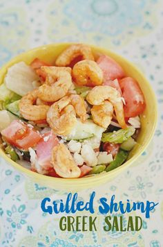Try this grilled shrimp Greek salad! Inspired by my favorite salads from Greece served in Tarpon Springs, this salad combines feta with flavor! #HiddenValley #HiddenValleyGreek #ad
