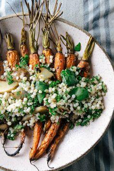 sunchoke mustard couscous + watercress, caraway roasted carrots