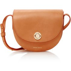 Mansur Gavriel Mini Saddle Leather Shoulder Bag (7.929.570 IDR) ❤ liked on Polyvore featuring bags, handbags, shoulder bags, nude, orange leather handbag, shoulder handbags, mini shoulder bag, leather shoulder bag and leather purses