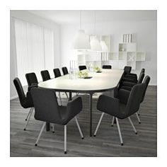 IKEA - BEKANT, Conference table, gray/black, , 10-year Limited Warranty. Read about the terms in the Limited Warranty brochure.The veneer surface is durable, stain resistant and easy to keep clean.Built-in cable management for collecting cables and cords out of sight but close at hand.