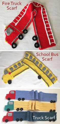 Knitting Patterns for Fire Truck Scarf, School Bus Scarf, and Trailer Truck Scar. Knitting Patterns for Fire Truck Scarf, School Bus Scarf, and Trailer Truck Scarf - Individual patterns in garter stitch. Knitting For Kids, Easy Knitting, Knitting Patterns Free, Knit Patterns, Knitting Projects, Crochet Projects, Knitting Stitches, Sock Knitting, Sweater Patterns