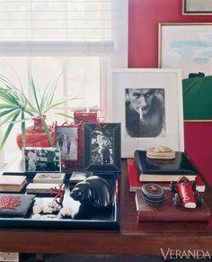 Veranda- Red Vignette - India Hicks Bahamas home - Tablescape