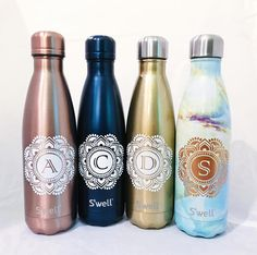 Mandala Initial S'well Bottle  Bridesmaids Groomsmen