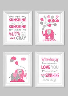 Gray and Fuchsia Elephant Nursery Art You by SweetPeaNurseryArt Elephant Nursery Art, Nursery Canvas, Girl Nursery, Nursery Decor, Pink Grey, Gray, You Make Me Happy, You Are My Sunshine, Large Prints