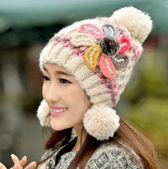 Girls flower knit hat for women hairball beanie winter hats