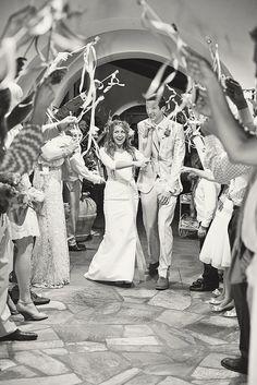 Wedding send off, ribbon wands.