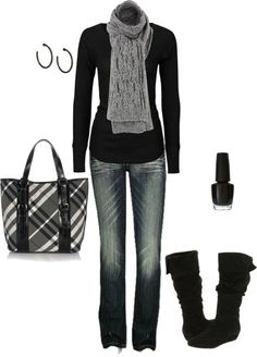 Casual everyday for winter. Suede boots make a nice touch!
