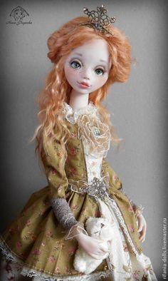 Купить Шарлин - рыжий, коллекционная кукла, оригинальный подарок, принцесса, очарование, Ливинг долл, сатин