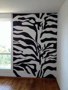 Hand painted zebra wall