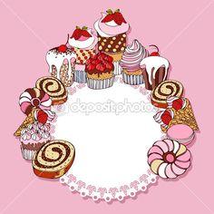 Fondo retro tarjeta con tortas, marco vintage, invitación, saludo con magdalenas de diseño — Ilustración de stock #11951292