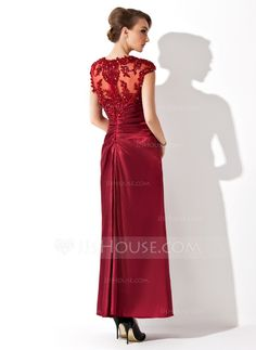 A-Line/Princess V-neck Ankle-Length Tulle Charmeuse Mother of the Bride Dress With Ruffle Lace Beading (008013961)