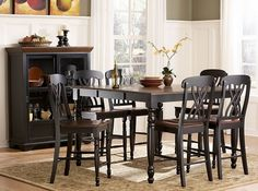 7 pc Ohana collection black and cherry finish wood counter height dining table set with wood seats and turned legs