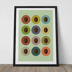 "COFFEE BEAN Poster Kitchen Art Poster ""JAVA"" Minimalist Coffee Poster Scandinavian Mid-Century Modern Eames Era Design"