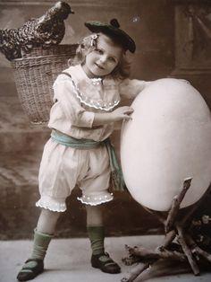 Antique Easter postcard  Little girl child big by LizKnijnenburg