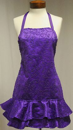 purple fancy apron that costs like $300... for an apron?!