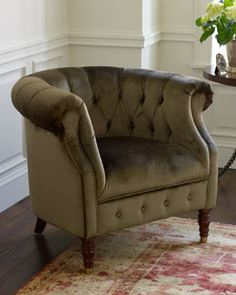 H452T Olive Velvet Tub Chair