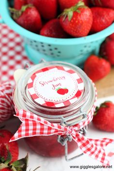 The BEST Homemade Strawberry Jam + Free printables. A sweet gift idea or summer treat! #dallasblogger #recipes #jam #giftidea #todayfood #freeprintable #printables #summer #gigglesgalorecreates #gigglesgalorerecipes #gigglesgalore