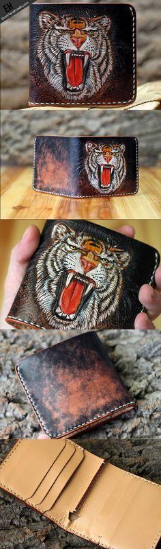 Handmade short leather wallet men tiger carved leather short wallet fo | EverHandmade