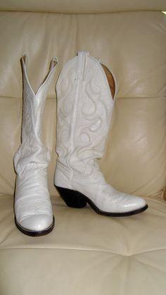 Vintage cowboy cowgirl low heel knee high tall blue tan brown ...