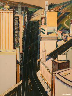 """Wayne Thiebaud """"Sunset Streets"""" (1985)"""