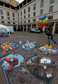 Disney Pixar Characters Emerge From The Ground At Covent Garden To Launch Kinect Rush by 3DJoeandMax