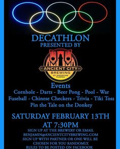 This Saturday night Ancient City Brewing will be hosting the first FREE Decathlon!  Events include: Corn hole Darts Beer pong Pool War Foosball  Chinese Checkers Trivia Tiki Toss and Pin the Tail on the Donkey!! Pick your best team mate and sign up! Only a few spots left! Live Music by 2nd Hand during the event! It all begins at 7:30pm!  To sign up message us here on Facebook or email Benjamin@AncientCityBrewing.com  #AncientCityBrewing #StAugBeer #StAugCraftBeer #FlBeer #StAugustine…