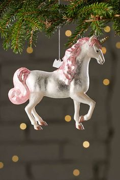 Urban Outfitters Pink Glass Glitter Unicorn Christmas Ornament