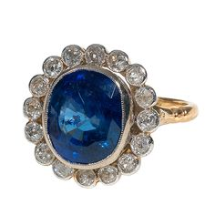 19th century sapphire and diamond cluster ring, English c.1880