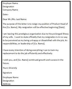 Formal resignation letter 1 month notice google search lucabon resignation letter format with reason describing the reason of resignation as for illness personal or family members expocarfo Image collections