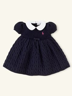 Classic Cabled Babydoll Dress - Dresses & Rompers   Layette Girl (Newborn–9M) - RalphLauren.com