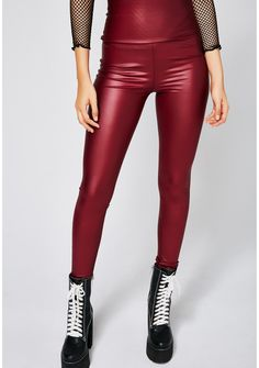 Seein' Red Leggings you got 'em in their feelings. These red leggings have a high waist fit with a shiny finish and a hidden zipper closure on the side.