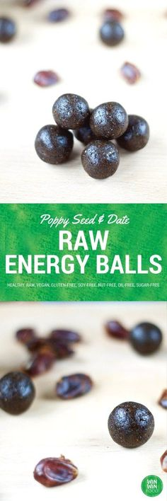 Raw Energy Balls with Poppy Seeds & Dates | WIN-WINFOOD.com #healthy #vegan…