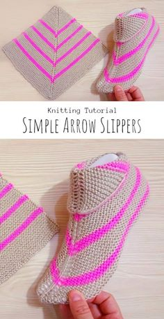 Knit Simple Arrow Slippers - Craft With Yarn Knitted Booties, Knitted Slippers, How To Start Knitting, Knitting For Beginners, Easy Knitting Patterns, Crochet Patterns, Free Crochet, Knit Crochet, Unisex