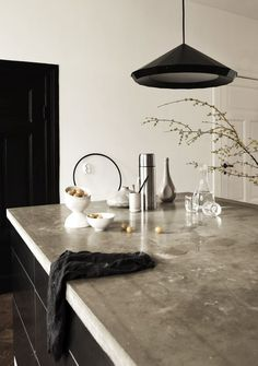 modern kitchen interior / concrete & black  #creative #homedisign #interiordesign #trend #vogue #amazing #nice #like #love #finsahome #wonderfull #beautiful #decoration #interiordecoration #cool #decor #tendency #brilliant #kitchen #love #idea #cabinet #art #worktop #modern #astonishing #impressive #furniture #diy