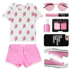"""""""National Ice Cream Day """" by lgb321 ❤ liked on Polyvore featuring 7 For All Mankind, Converse, NARS Cosmetics, Illesteva, Essie, Casetify, icecream, fashionset and NationalIceCreamDay"""