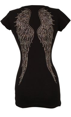 VNeck Top Cotton Tee With Studded Crystal Angel Wings