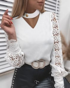 Summer Business Casual Outfits, Casual Chic Outfits, Trendy Outfits, Spring Outfits, Knit Fashion, Look Fashion, Blouse Styles, Blouse Designs, Girls Fashion Clothes