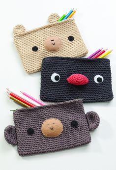 "pencil cases 2 by Ana Paula Rimoli, via Flickr  pattern in ""Amigurumi on the Go: 30 Patterns for Crocheting Kids' Bags, Backpacks and More"""